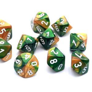 Gemini Polyhedral zehn W10 Sets Gold-Green white