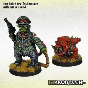 Iron Reich Orc Taskmaster with Gnaw Hound (2)
