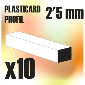 ABS Plasticard - Profile SQUARED ROD 2.5mm