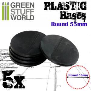55 mm Runde Kunststoffbasen - Schwarz