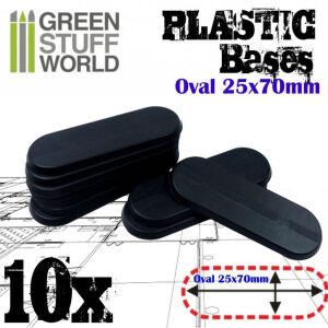 25x70mm Oval Kunststoffbasen - Schwarz