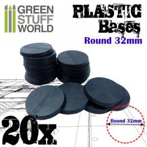 32mm Runde Kunststoffbasen - Schwarz