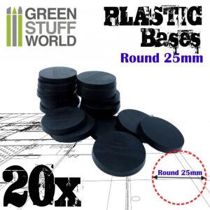 25mm Runde Kunststoffbasen - Schwarz