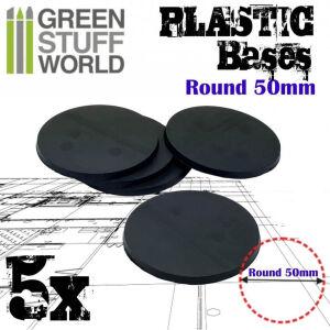 50 mm Runde Kunststoffbasen - Schwarz