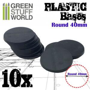 40 mm Runde Kunststoffbasen - Schwarz