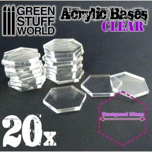 Acrylbasen - Hexagonal 30mm - Transparent