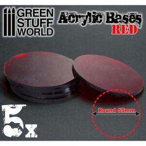 55 mm runde und rot transparent Acryl Basen