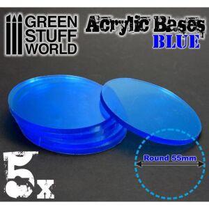 55 mm runde und blau transparent Acryl Basen