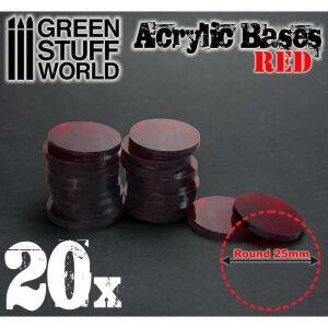25 mm runde und rot transparent Acryl Basen