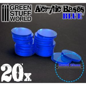 25 mm runde und blau transparent Acryl Basen