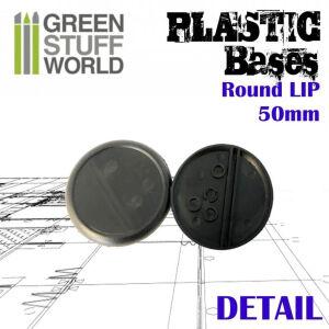 50 mm Runde Kunststoffbasen mit Lippe - Schwarz