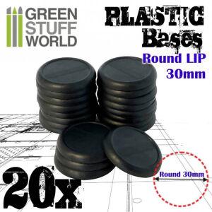 30 mm Runde Kunststoffbasen mit Lippe - Schwarz