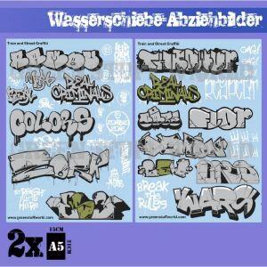 Wasserschiebe Abziehbilder - Züge und Graffiti Mix -...