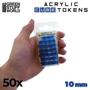 Blaue kubische Spielmarken