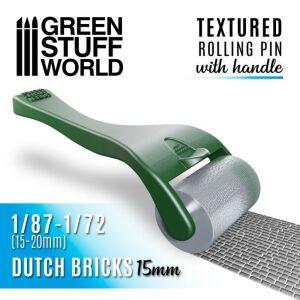 Strukturierte Walze mit Griff - Dutch Bricks 15mm