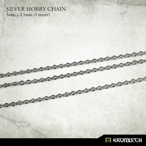 Silver Hobby Chain 3mm x 2,5mm (1 meter)